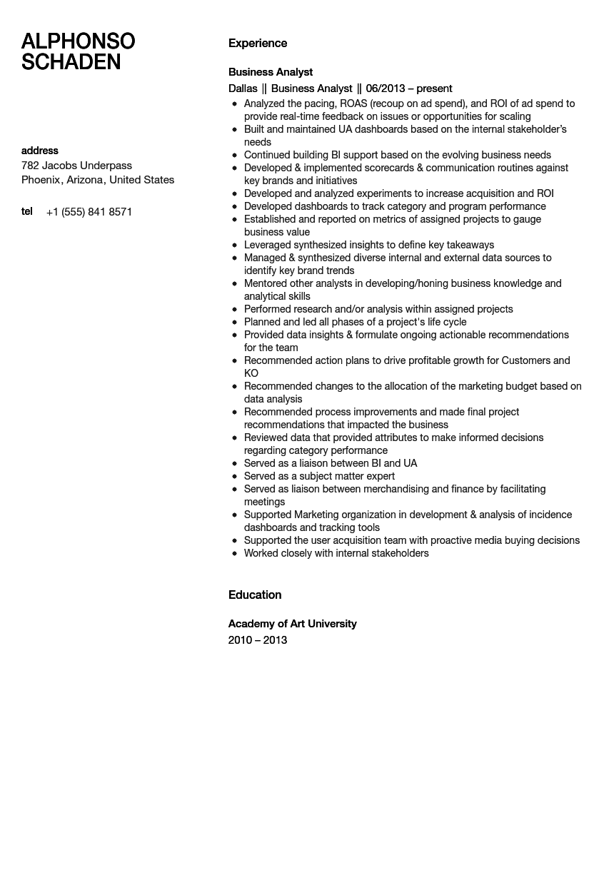 business analyst resume sample - Business Analyst Resume