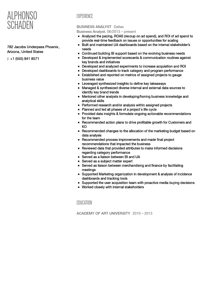 Business Analyst Resume Sample | Velvet Jobs