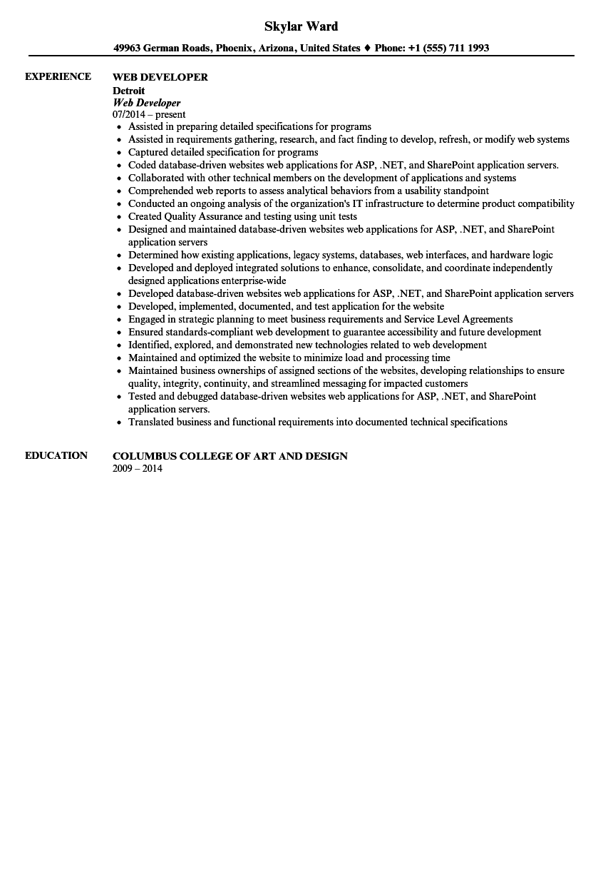 Web Developer Resume Sample Velvet Jobs