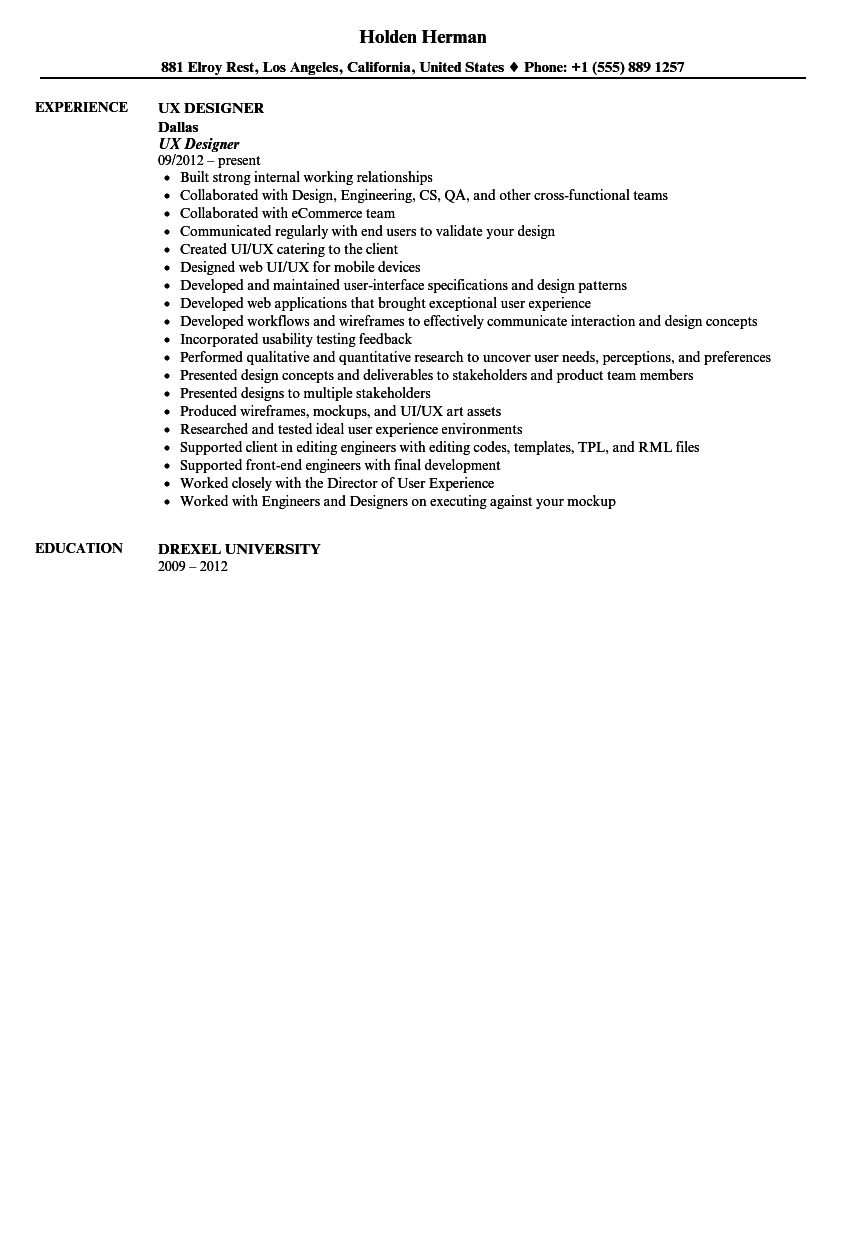 ux designer resume sample velvet jobs