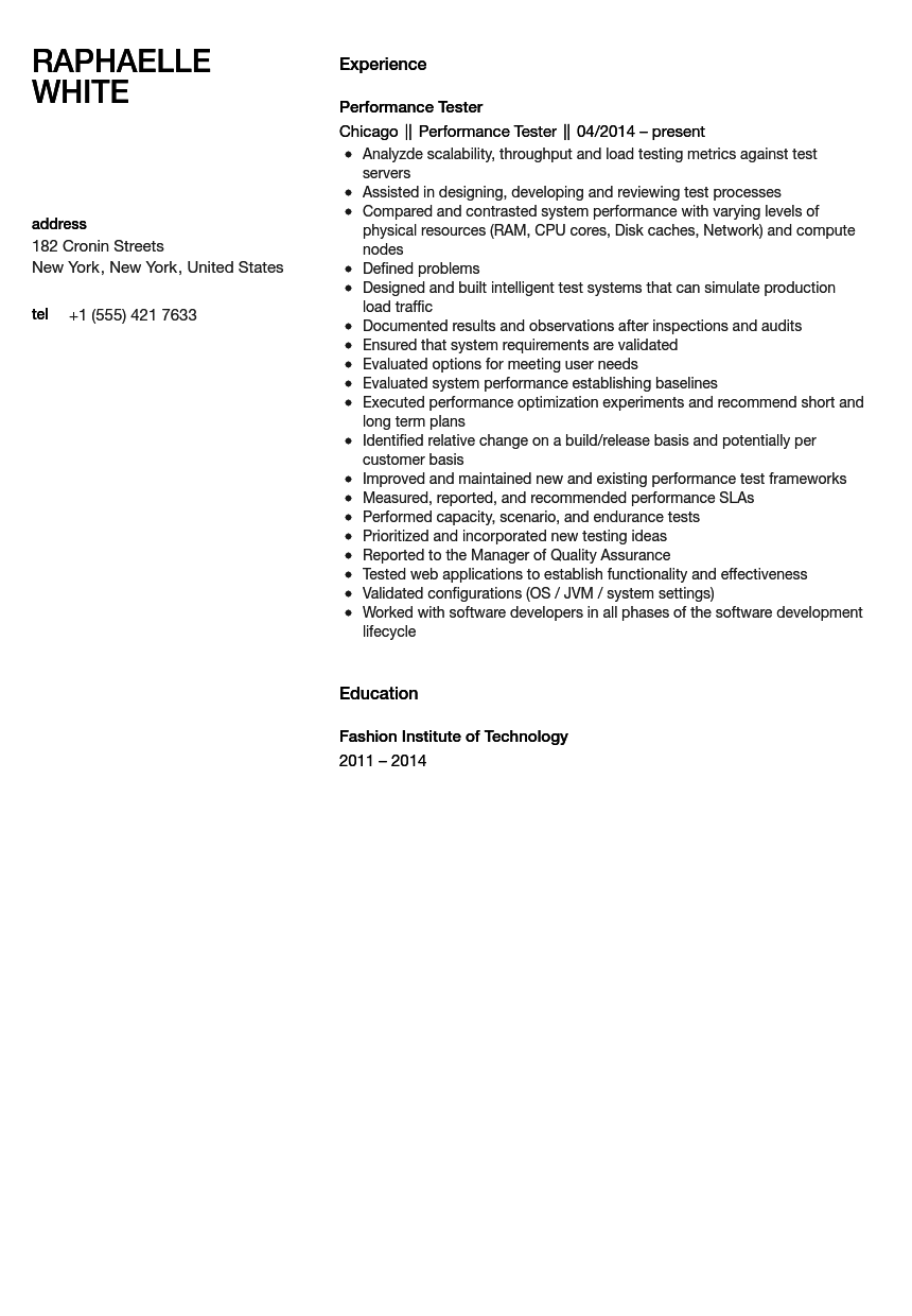 performance tester resume sample velvet jobs