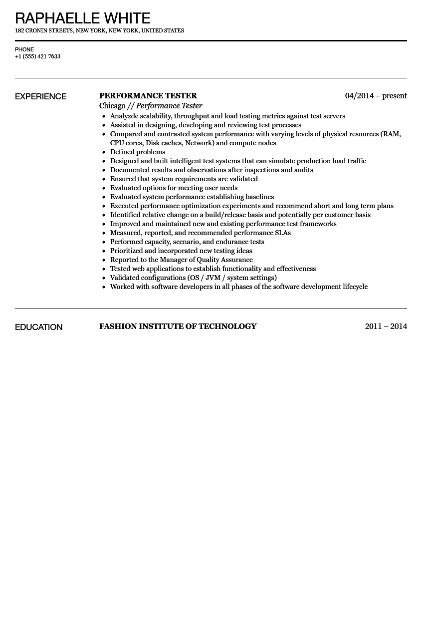 Performance Tester Resume Sample