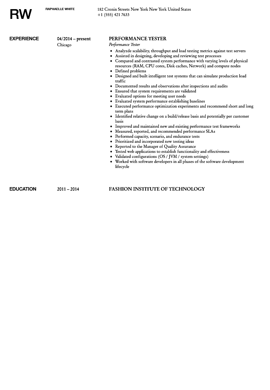 Sample resume of performance testing