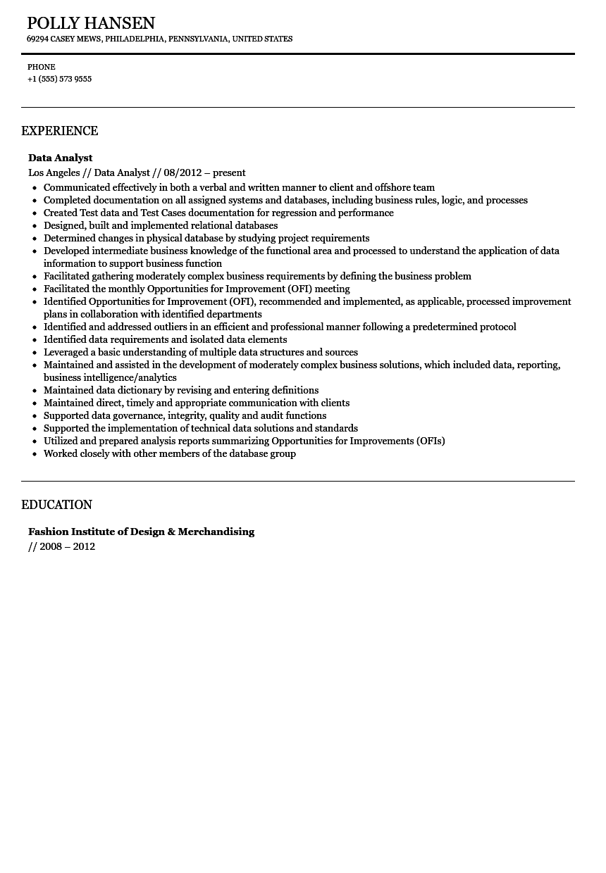 analyst sample resume business analyst resume for financial and