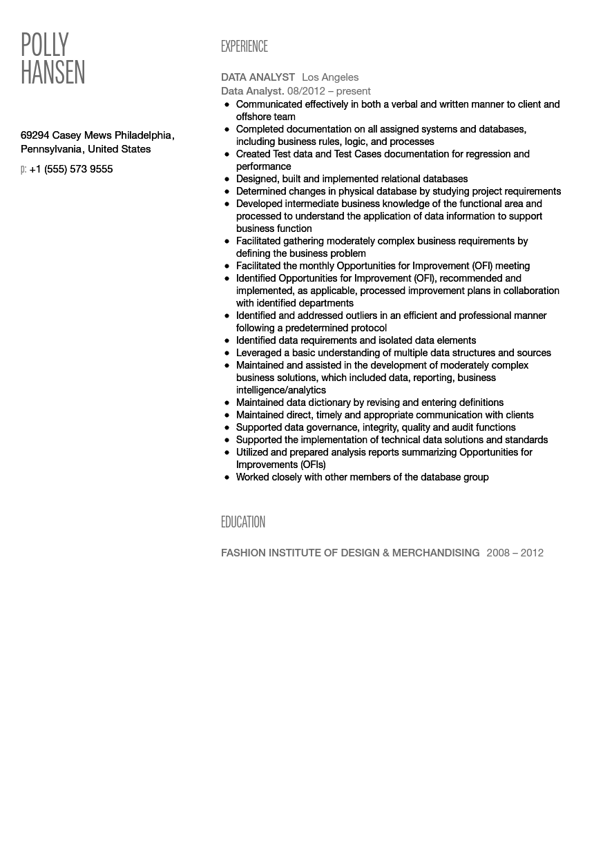 Data Analyst Resume Sample Velvet Jobs