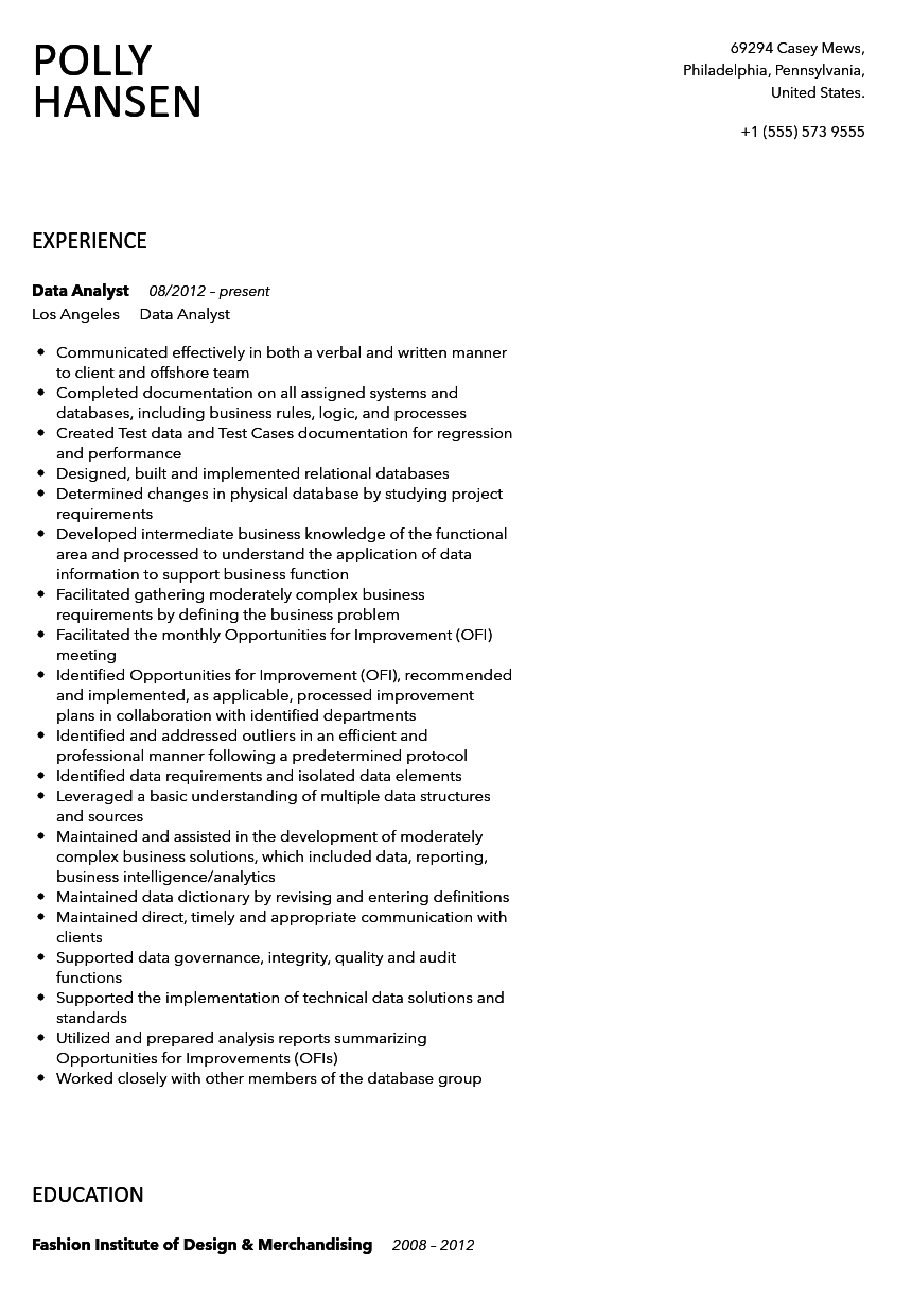 data analysis sample resume