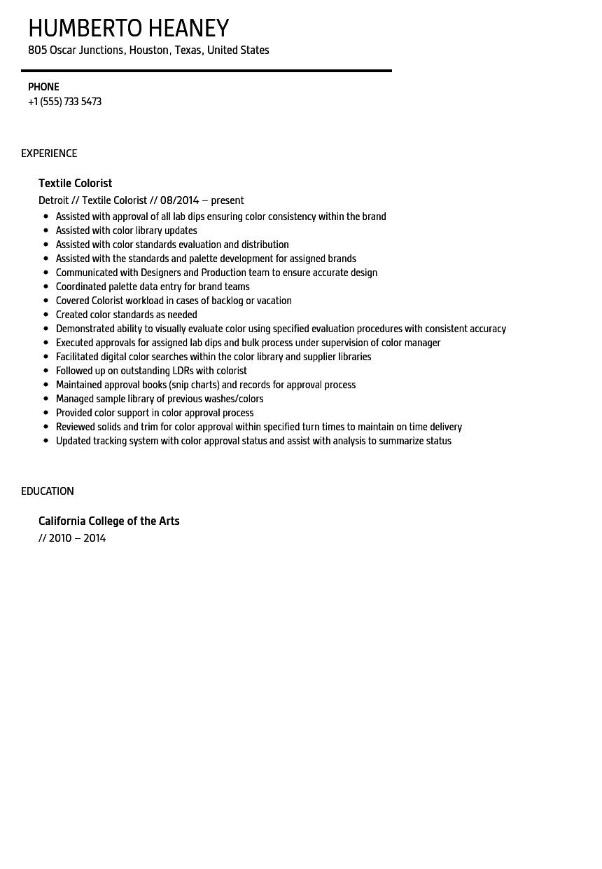 textile colorist resume sample
