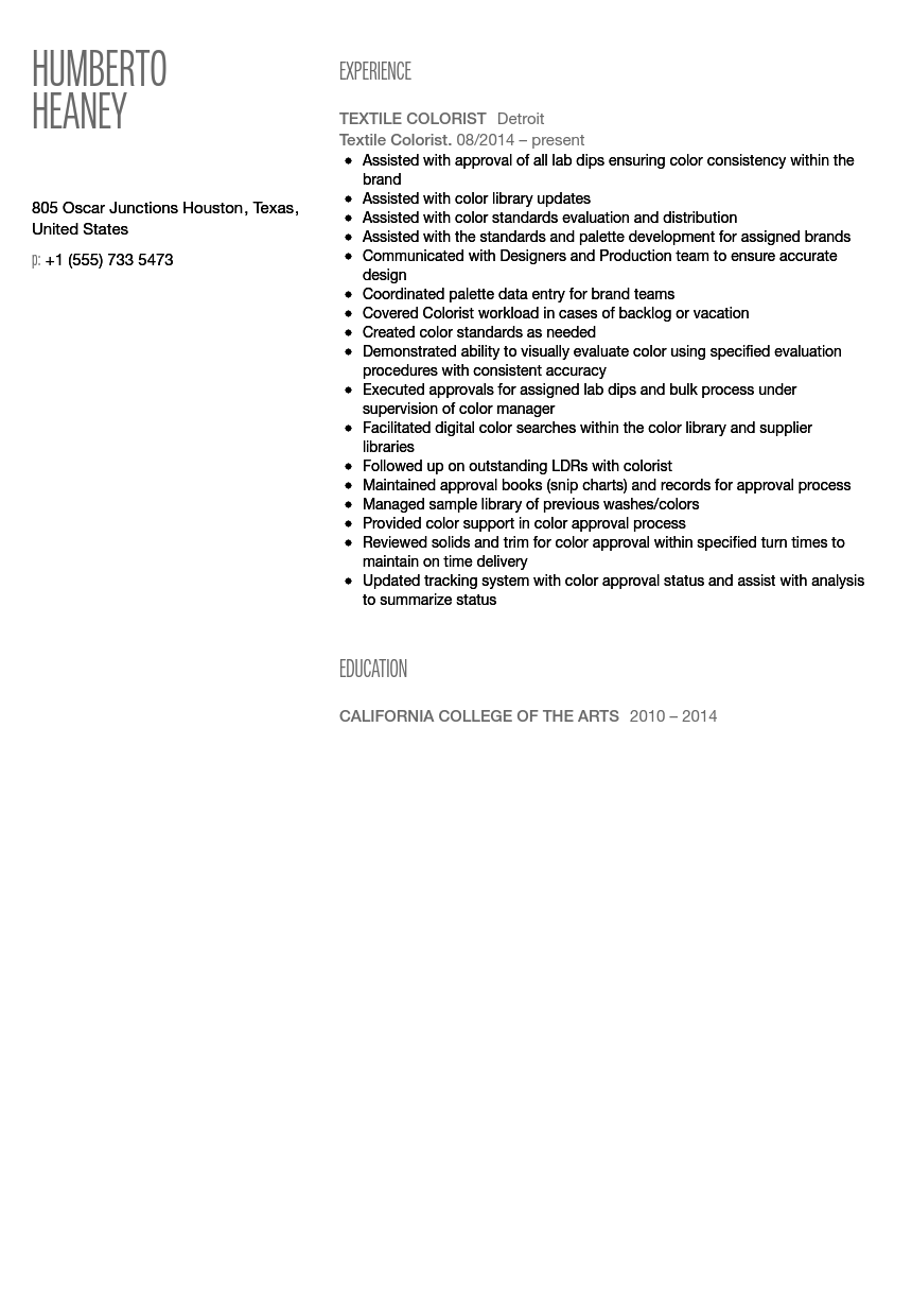 Textile Colorist Resume Sample