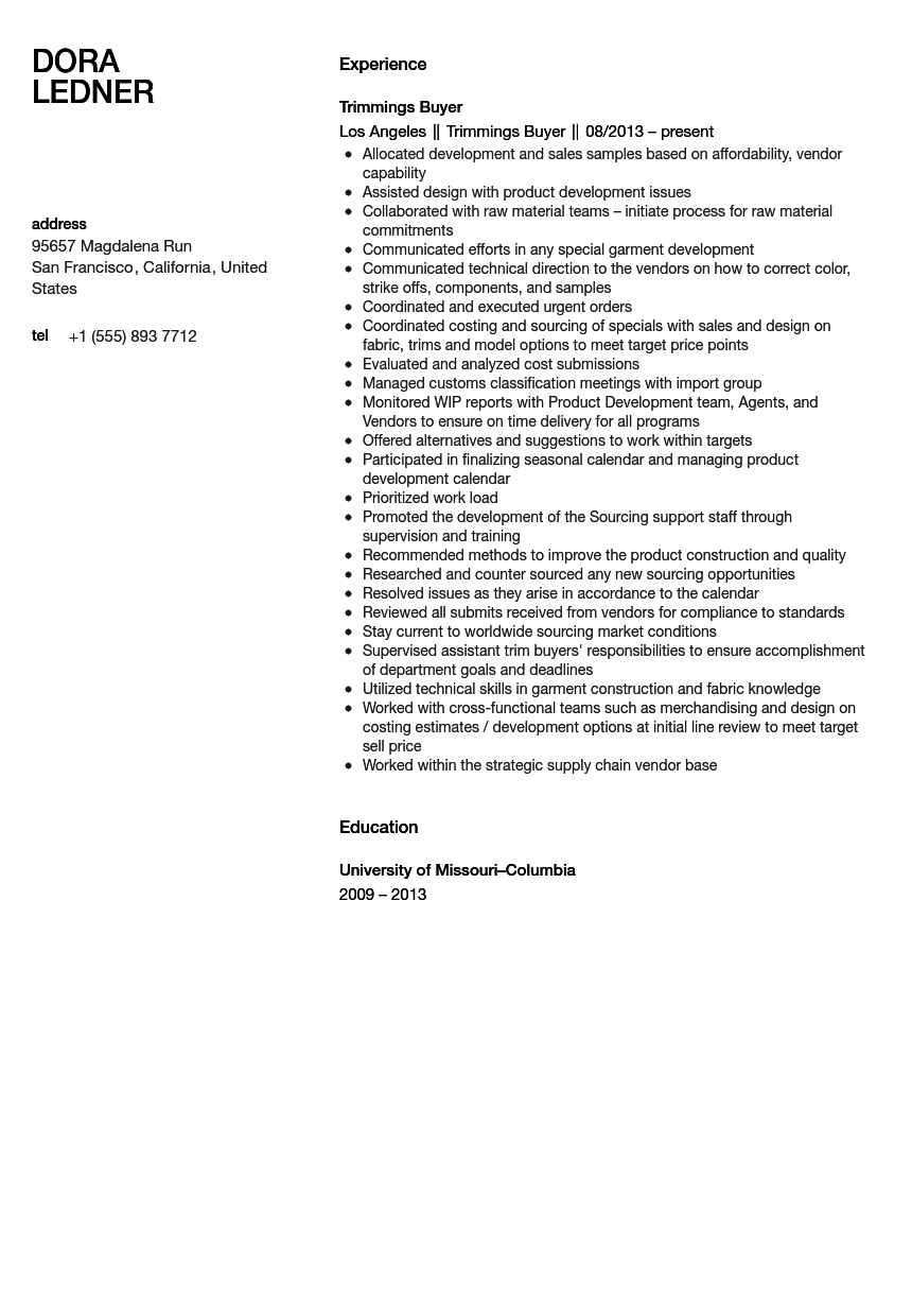 trimmings buyer resume sample