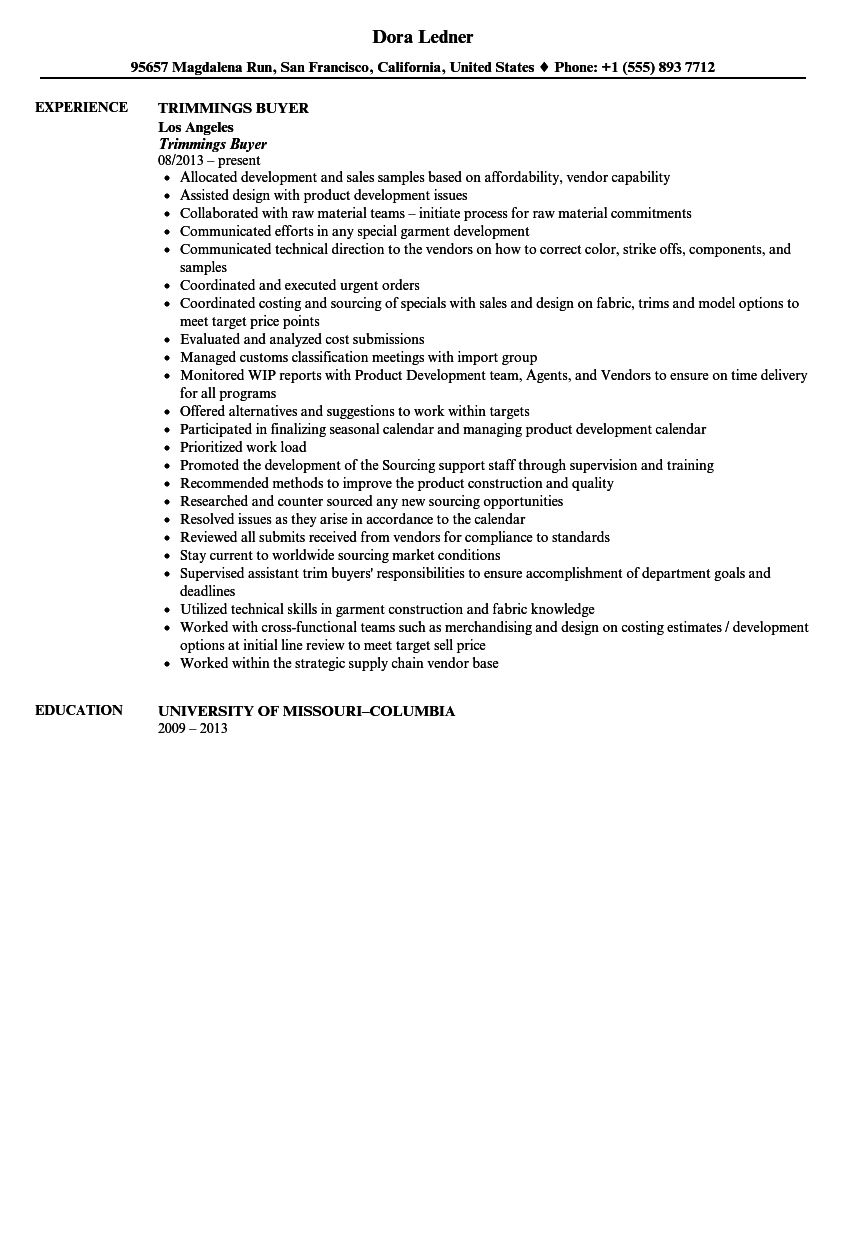 trimmings buyer resume sample velvet jobs