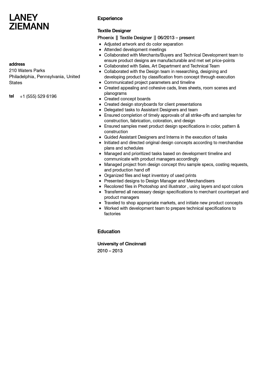 textile designer resume sample