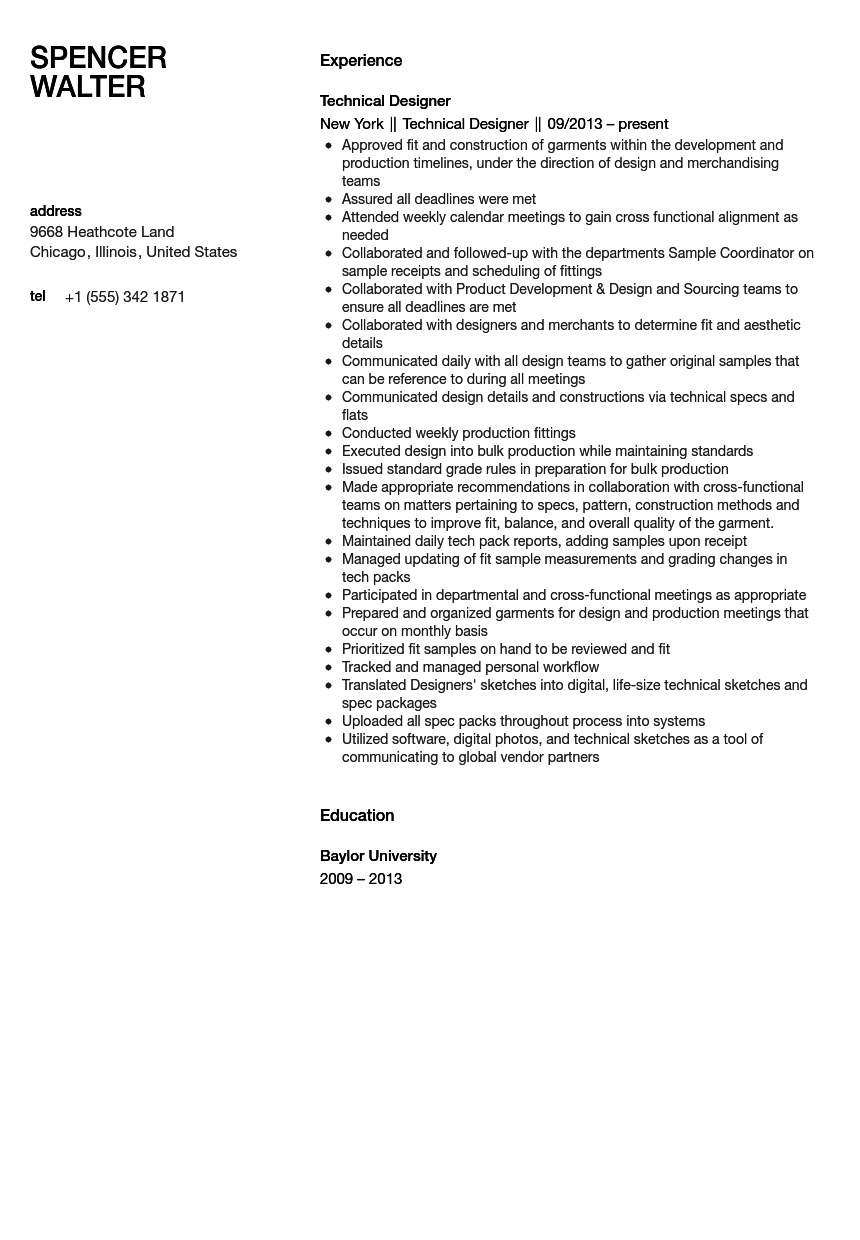 technical designer resume sample