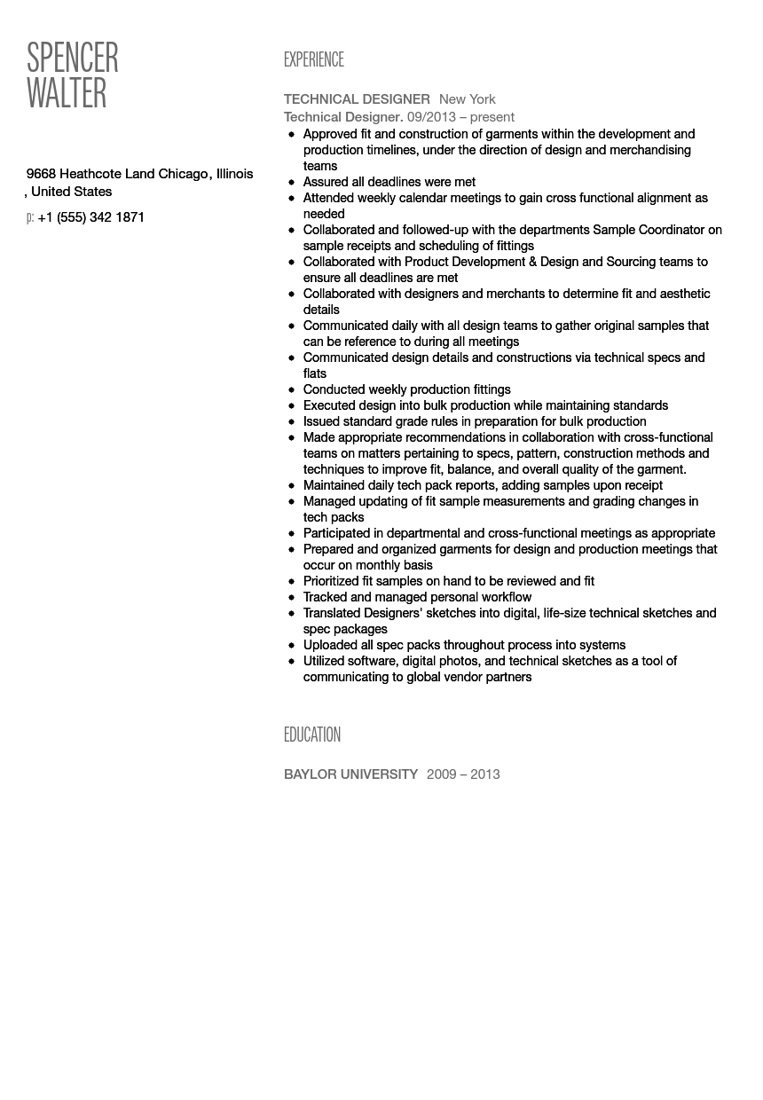 Technical Designer Resume Sample | Velvet Jobs