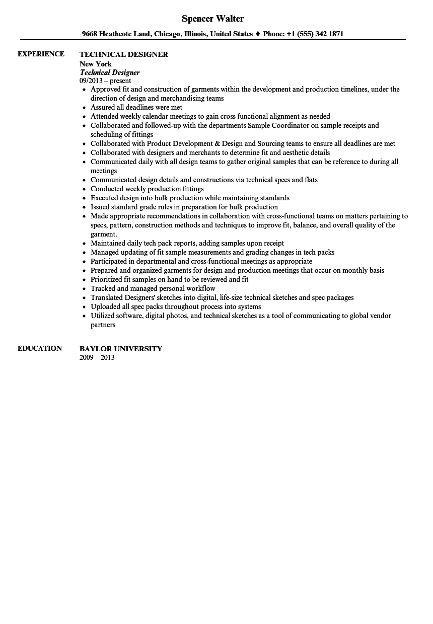 technical designer resume sle velvet
