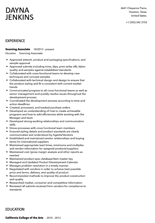 sourcing associate resume sample