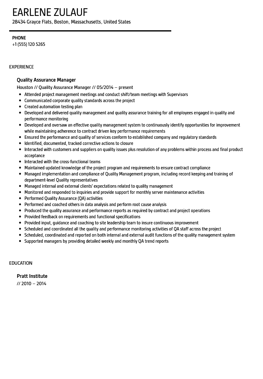 quality assurance resume software quality assurance resume this is ...