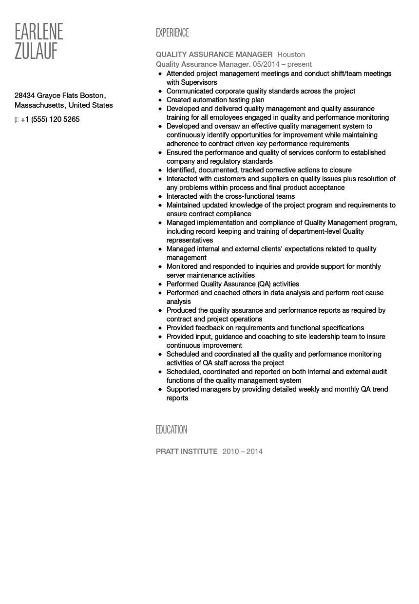 quality assurance manager resume sample velvet jobs