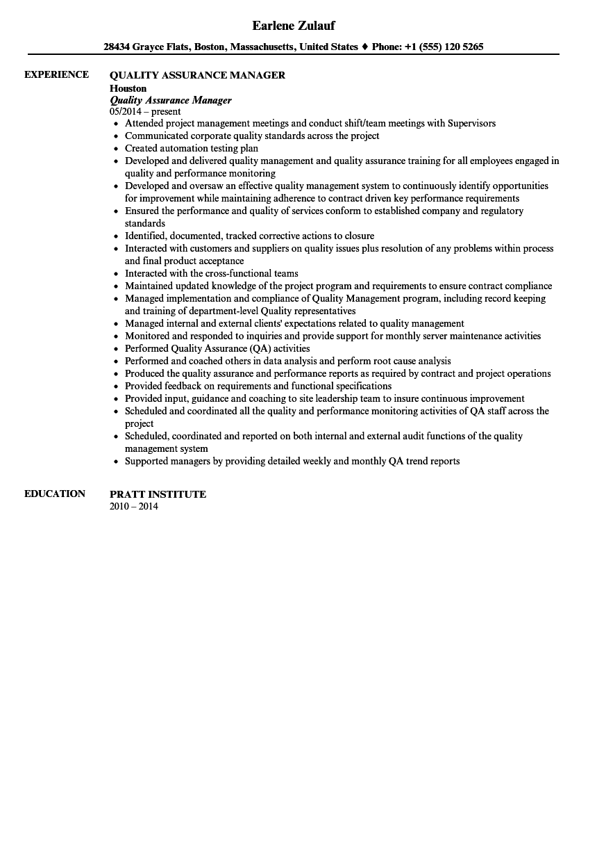 Quality Assurance Manager Resume Sample  Quality Assurance Manager Resume