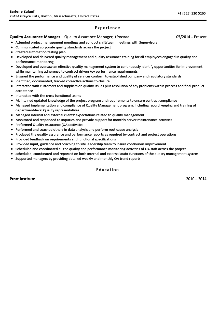 quality assurance manager resume sample