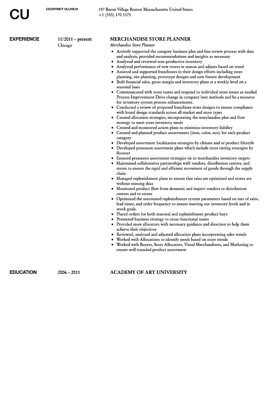 merchandise store planner resume sample velvet jobs