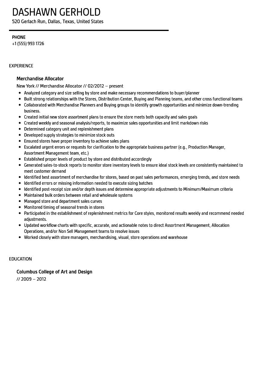 Merchandise Allocator Resume Sample