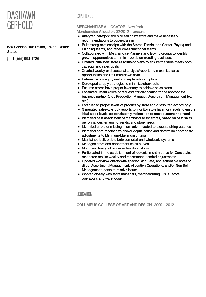 merchandise allocator resume sample - Wholesale Buyer Resume