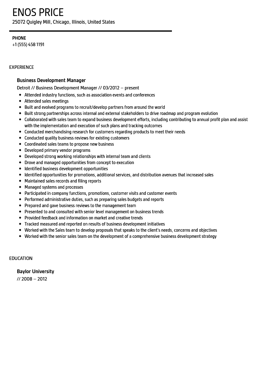 resume for business development manager