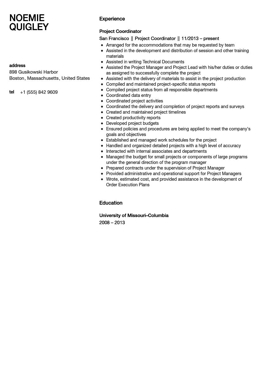 Project Coordinator Resume Sample Velvet Jobs