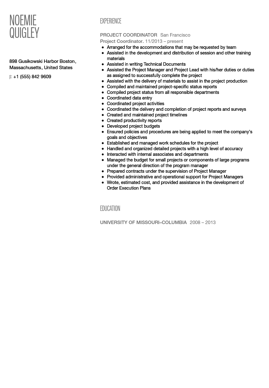 project coordinator resume sample - Coordinator Resume