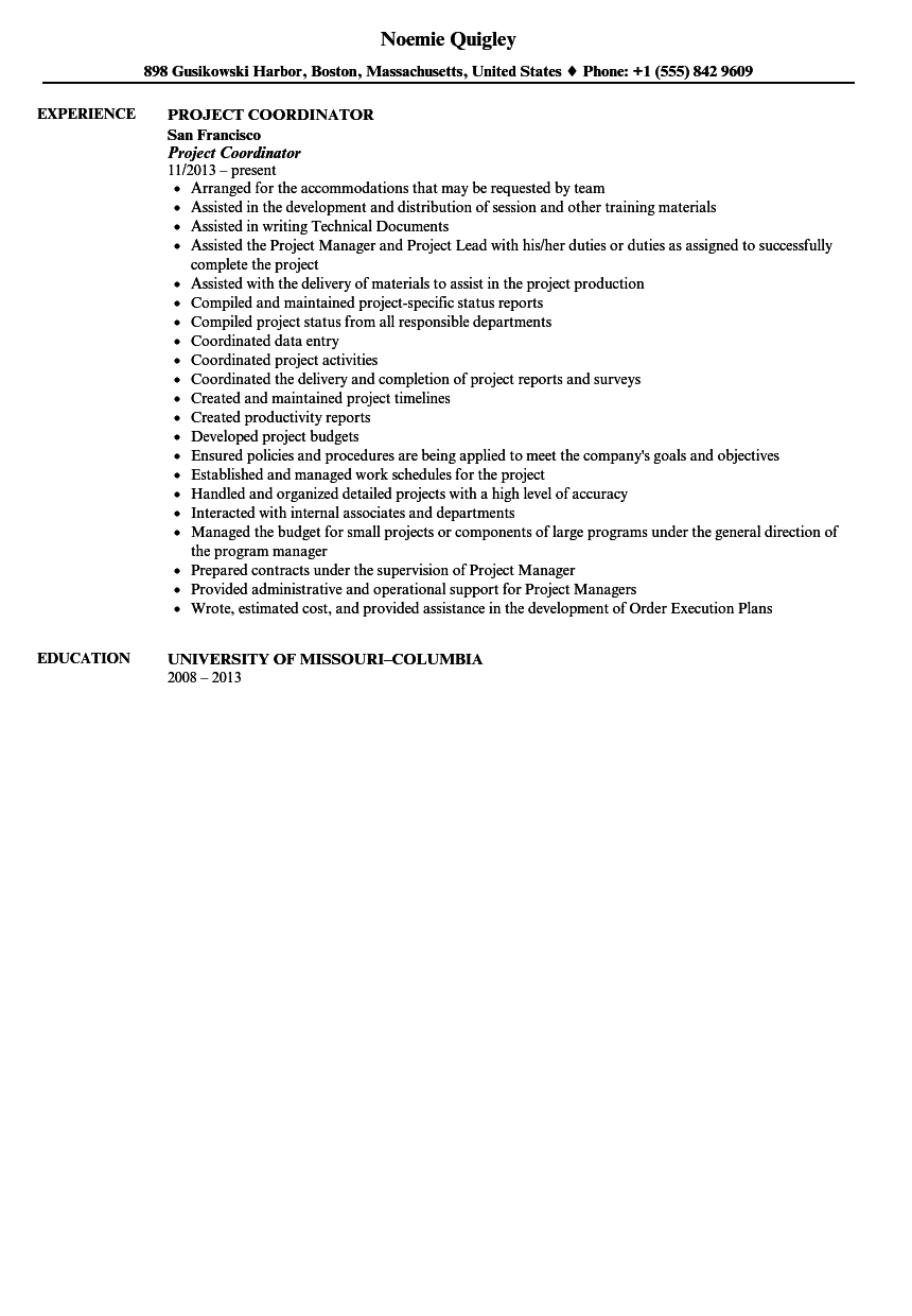 project coordinator resume sample. Resume Example. Resume CV Cover Letter