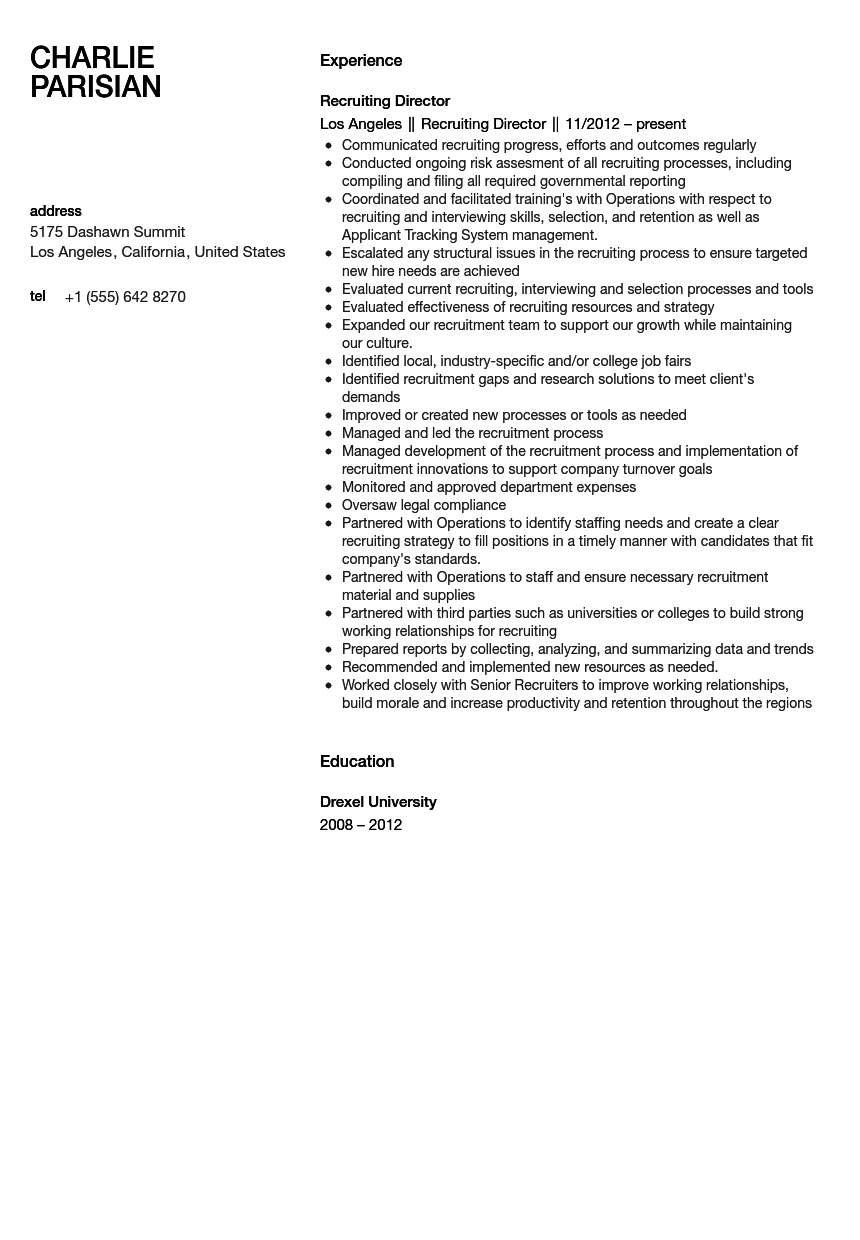 recruiting director resume sample