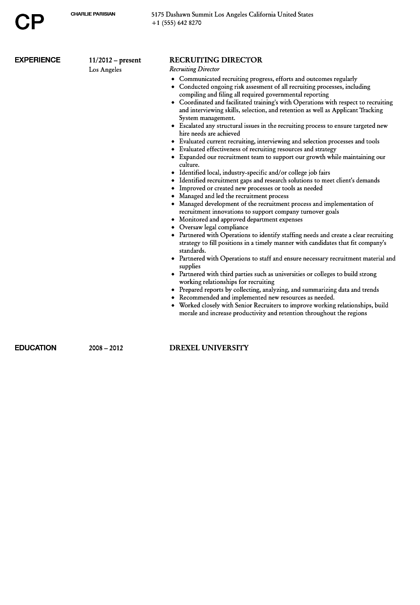 recruiting director resume sample velvet jobs