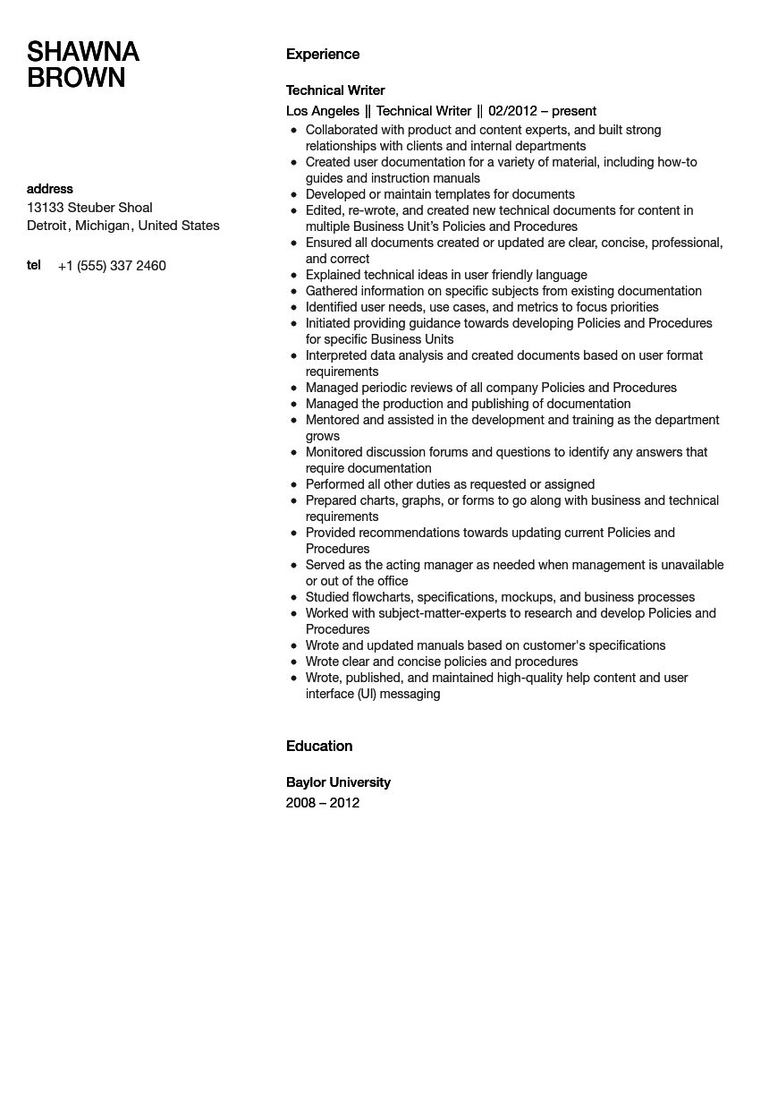 technical writer resume sample - Technical Writer Resume