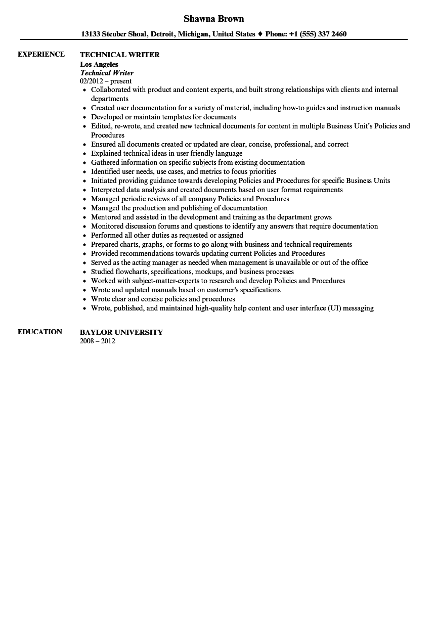 technical writer resume sample
