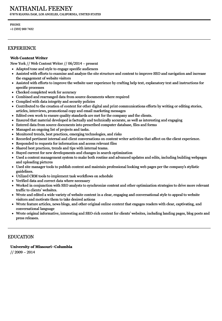 web content writer resume sample