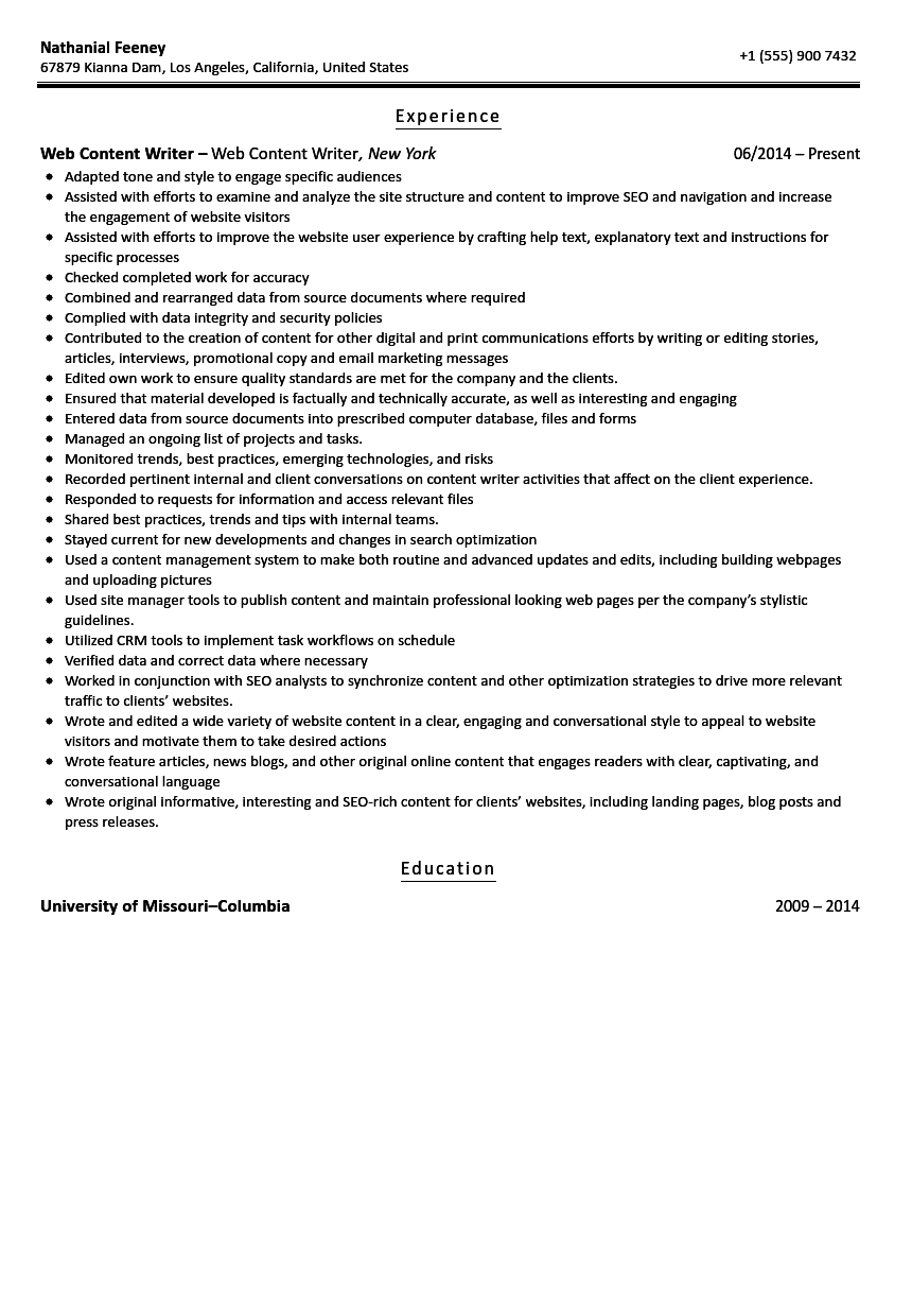 Web Content Writer Resume Sample Velvet Jobs