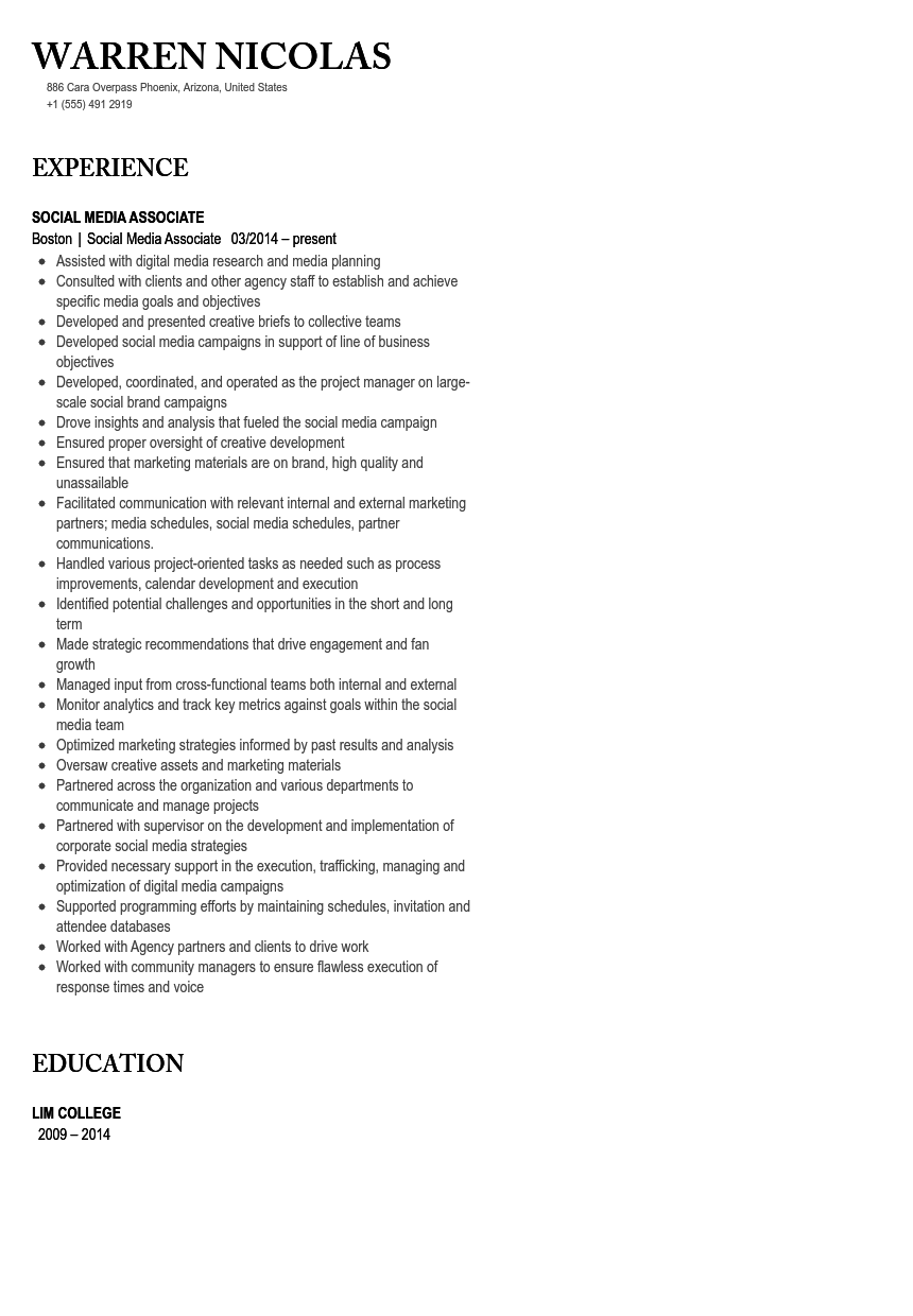 Social Media Associate Resume Sample