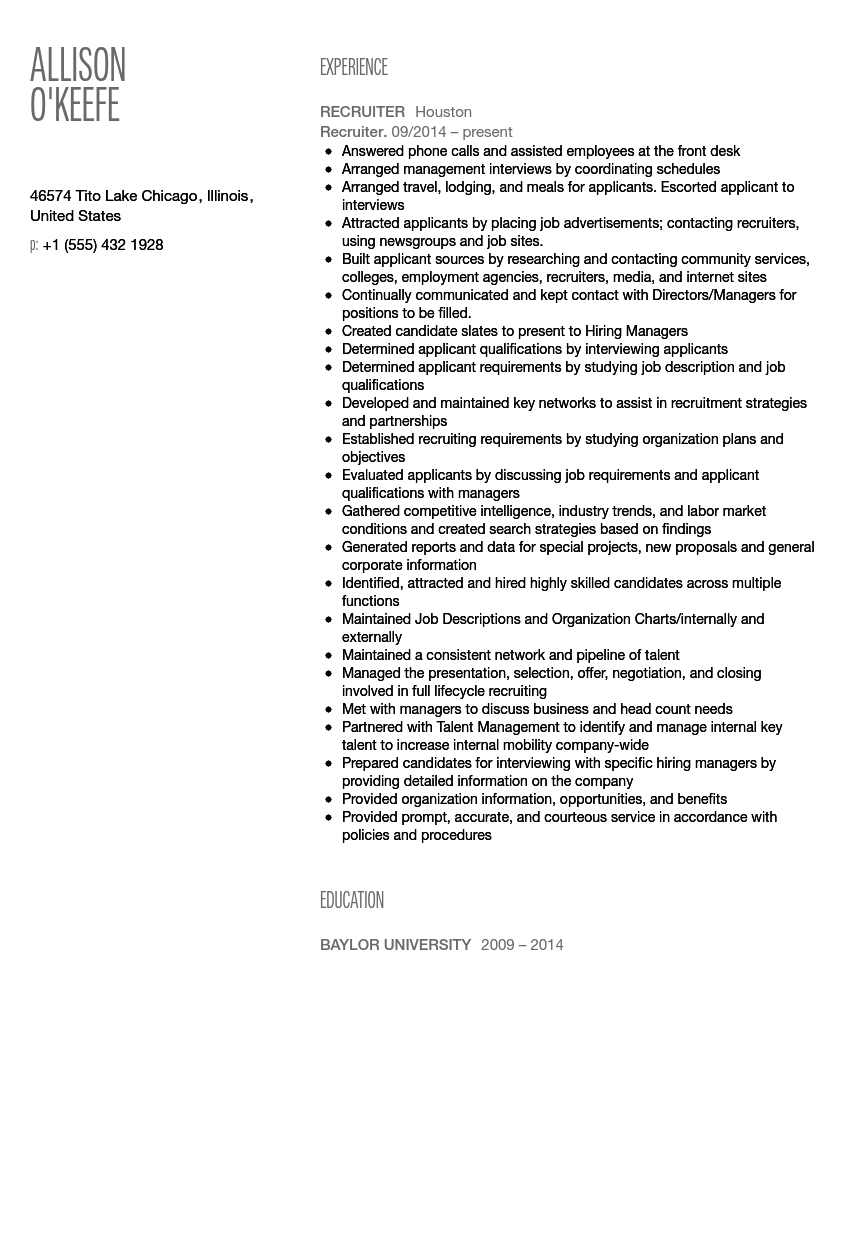 recruiter resume sample - Recruiting Resume Sample
