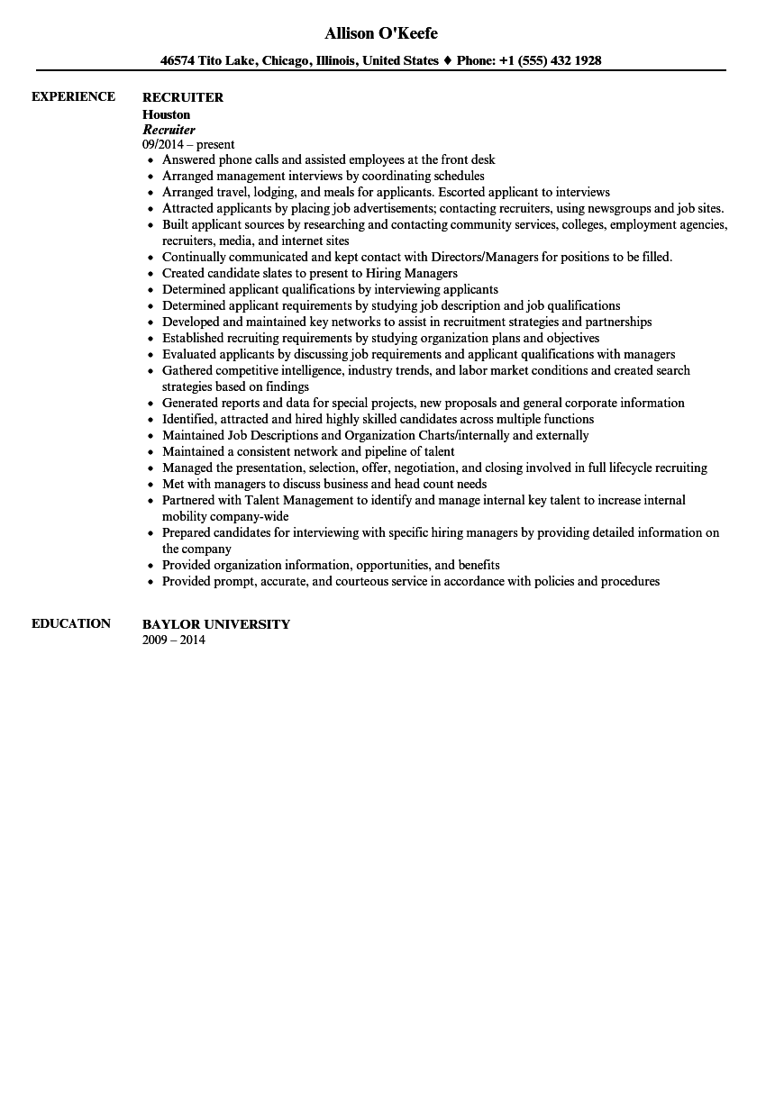 recruiter resume sample velvet jobs