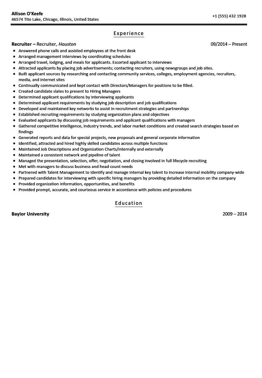 recruiter resume sample - Recruiter Resume Example