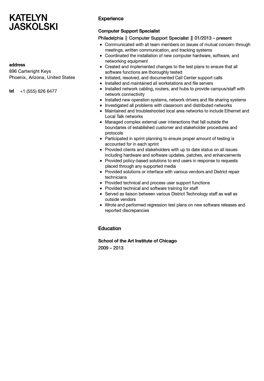 Computer Support Specialist Resume Sample