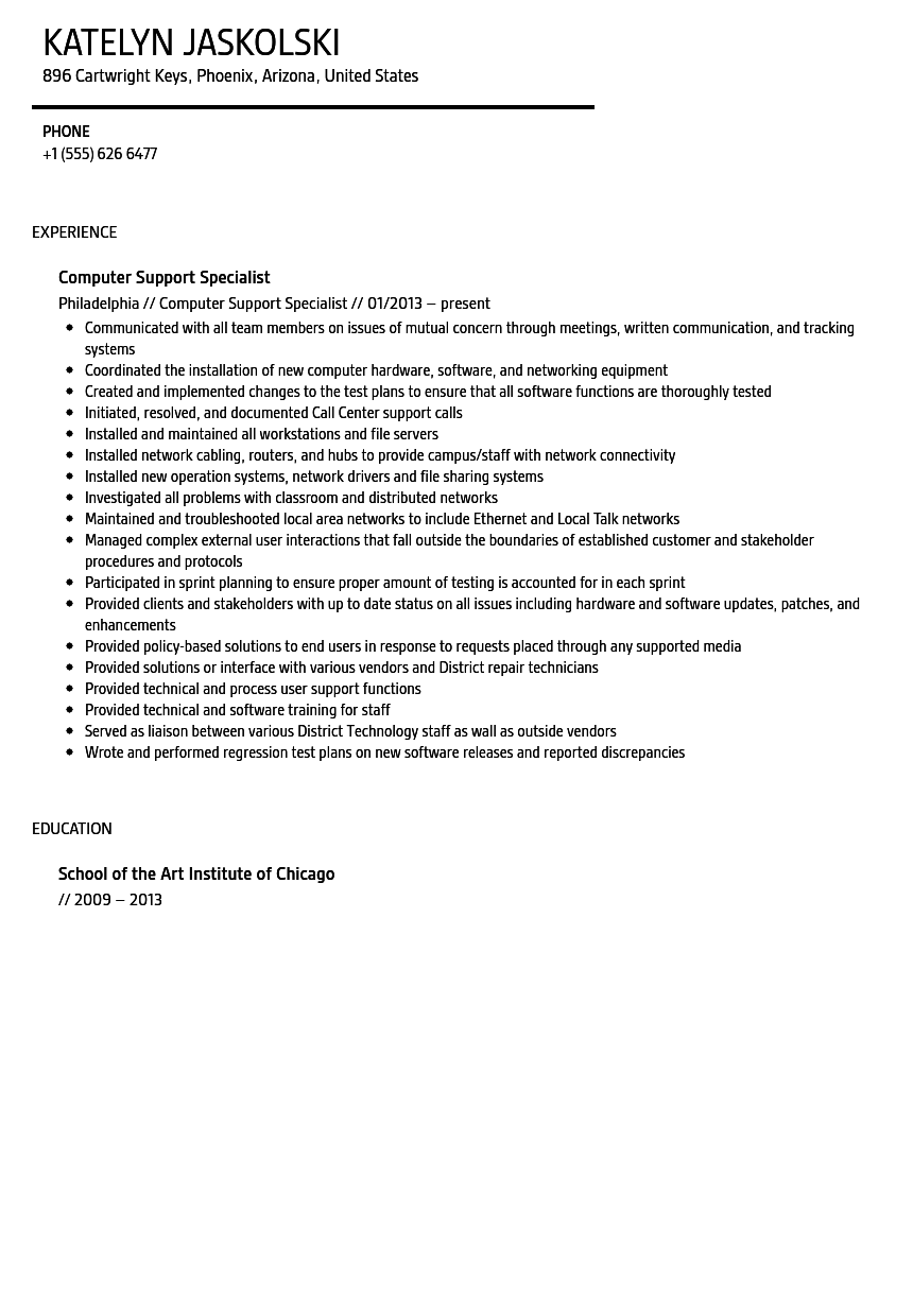 Computer Support Specialist Resume Sample | Velvet Jobs