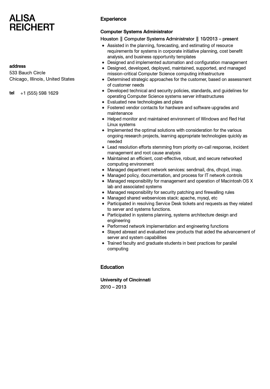 computer systems administrator resume sample
