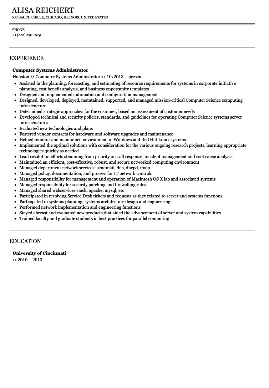 Computer administrator sample resume