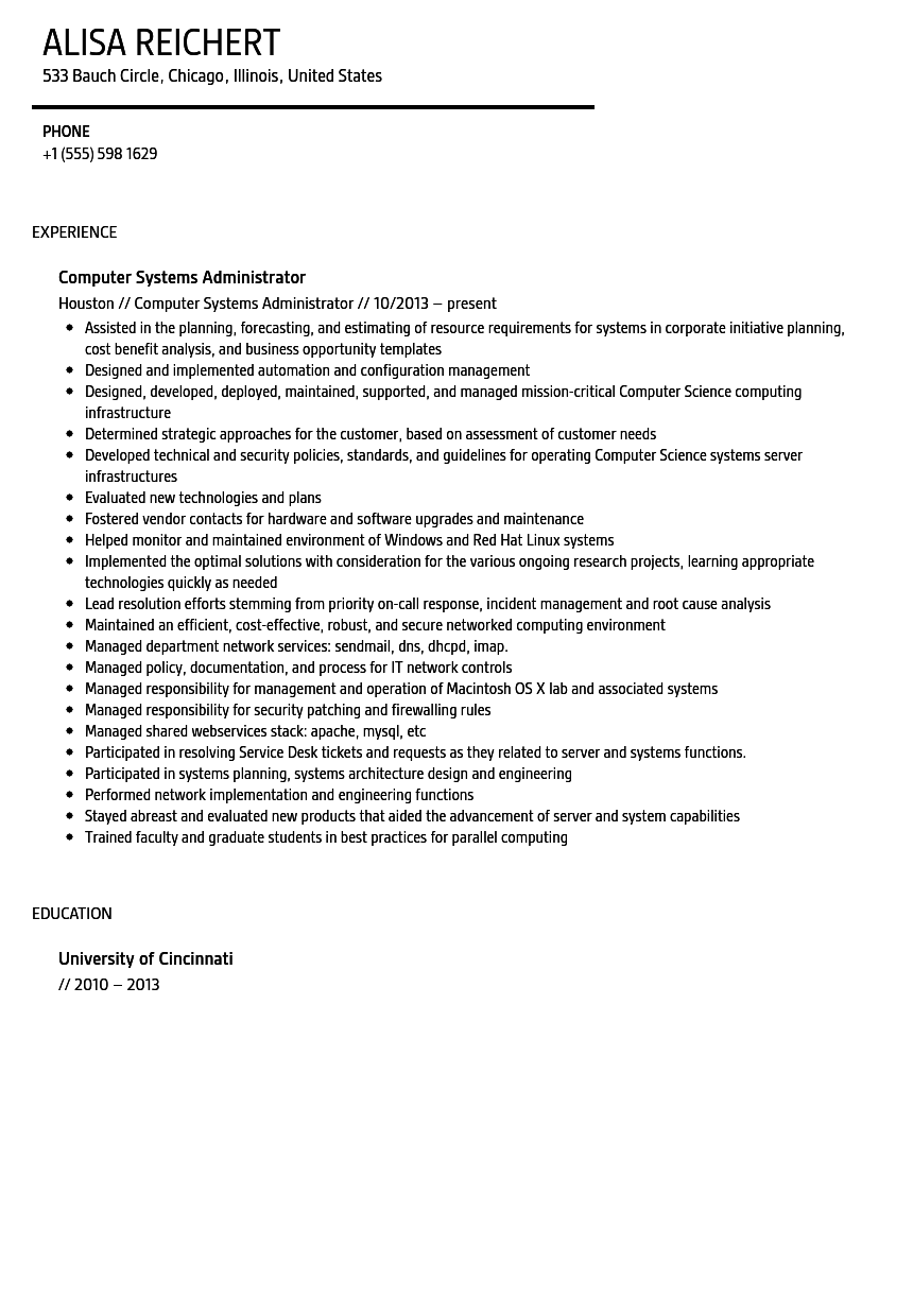computer systems administrator resume sample velvet jobs