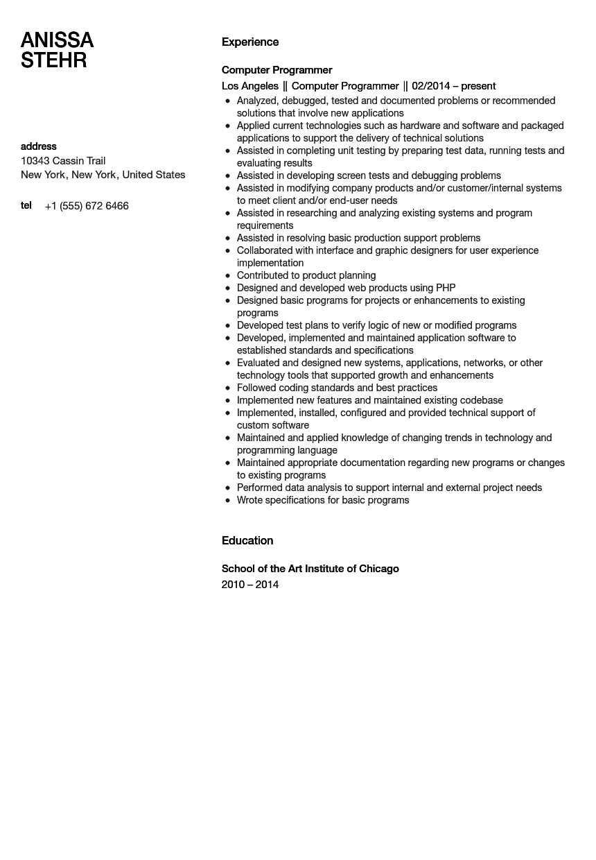 computer programmer resume sample