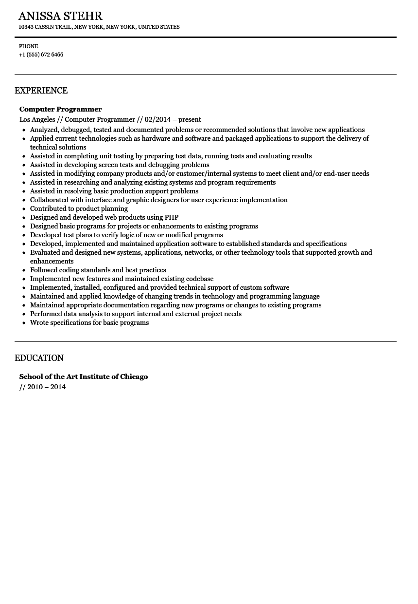 computer programmer resume sample velvet jobs