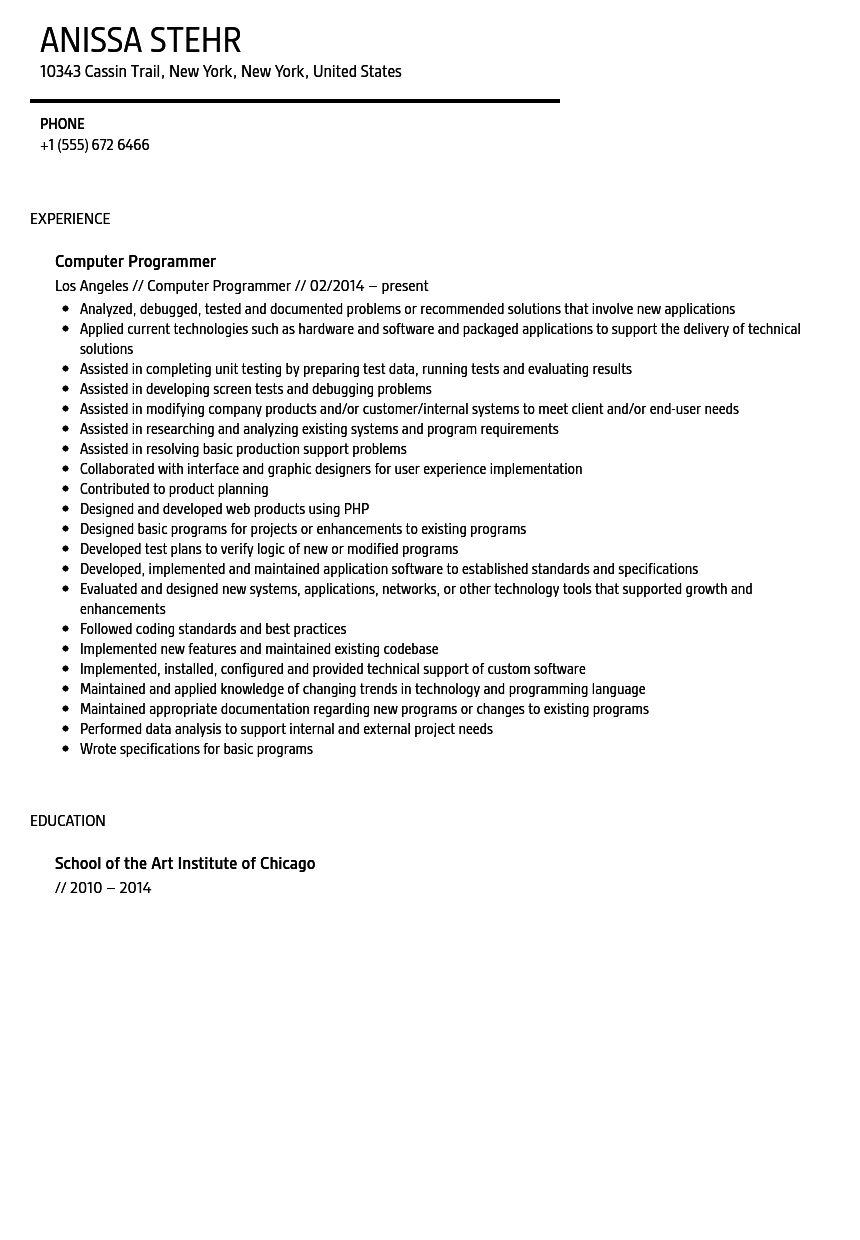 100 entry level sas programmer resume should a