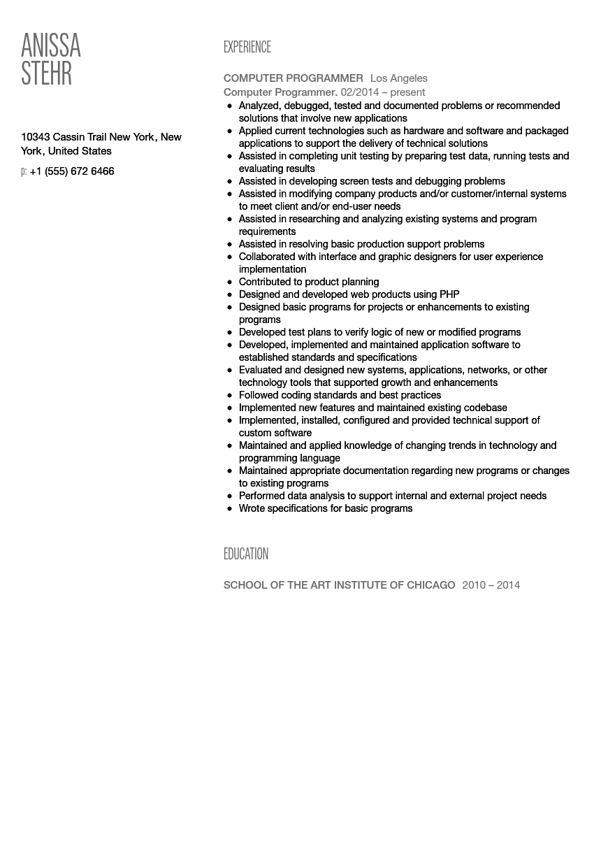 resume computer programmer 25 cover letter template for java