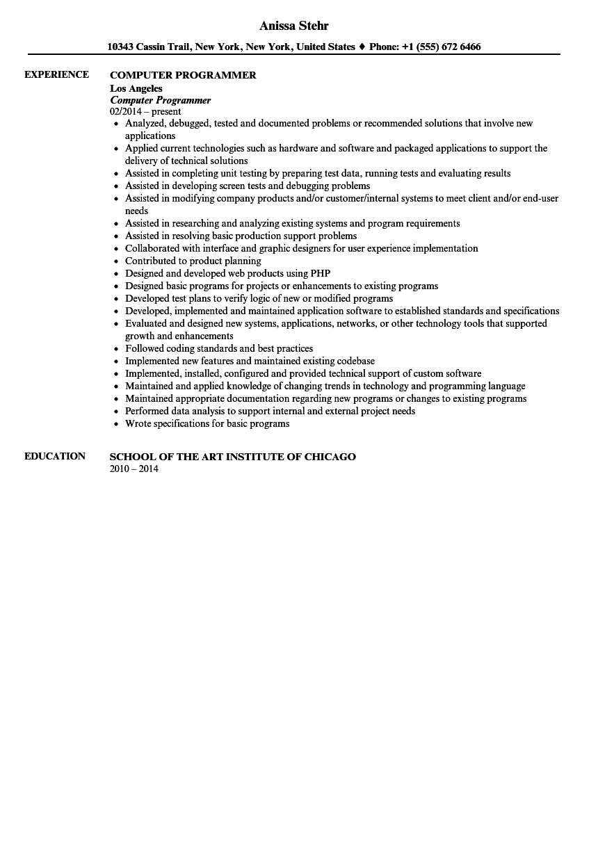 Computer Programmer Resume Sample | Velvet Jobs